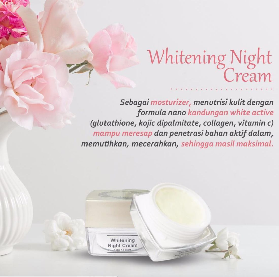Kandungan Whitening Night Cream MS Glow