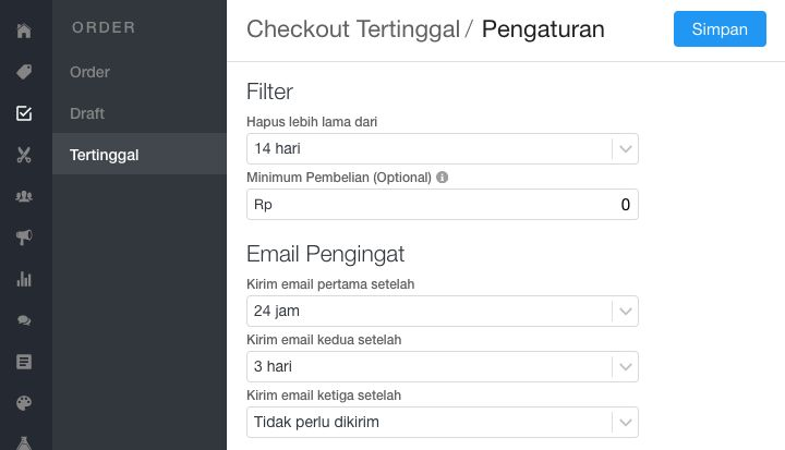 Pengaturan checkout tertinggal
